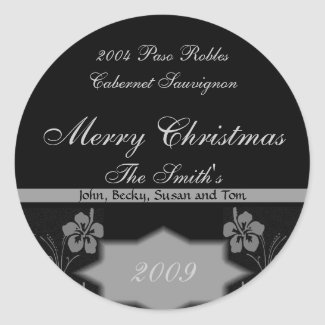 Black and Silver Christmas Wine Labels sticker