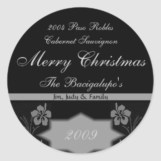 Black and Silver Christmas Wine LARGE Labels Classic Round Sticker