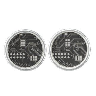 Black and Silver Circuit Board Cufflinks