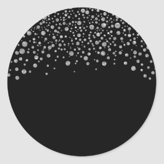 Black and Silver Confetti Classic Round Sticker