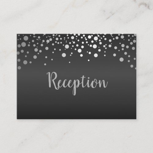 Black and Silver Confetti Dots _ Reception Enclosure Card