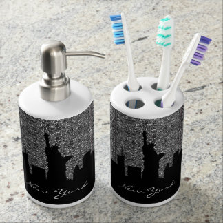 black glitter bathroom accessories. black and silver confetti glitter new york skyline bathroom set accessories
