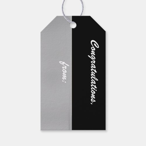 Black and Silver Congratulations Gift Tag