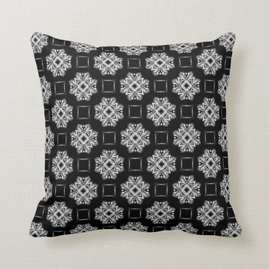 Black and Silver Crosses and Squares Style 006 Throw Pillow
