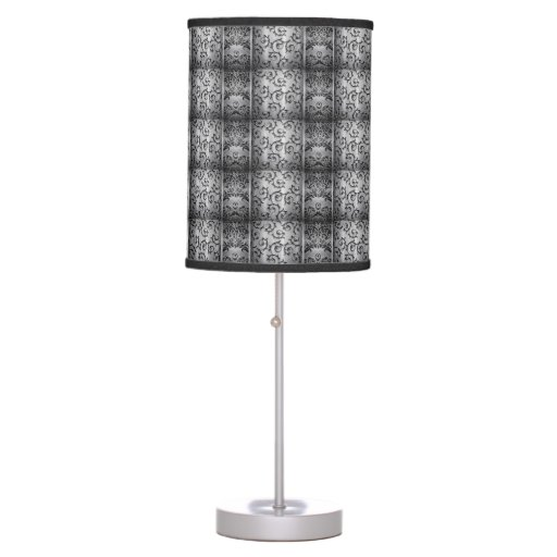 black and silver curls tiled pattern table lamp zazzle. Black Bedroom Furniture Sets. Home Design Ideas