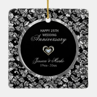 Black And Silver Damask 25th Anniversary