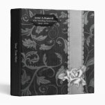 Black and Silver Damask 25th Wedding Anniversary 3 Ring Binders