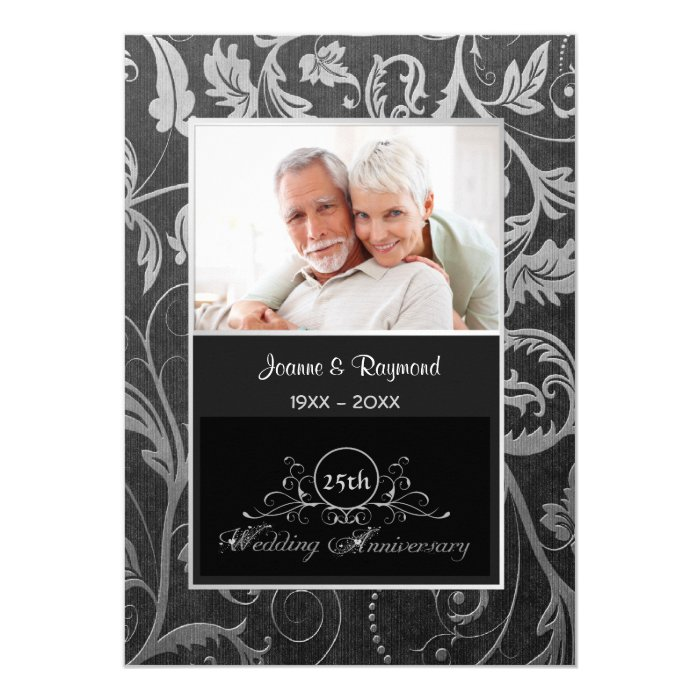 Black and Silver Damask 25th Wedding Anniversary Card
