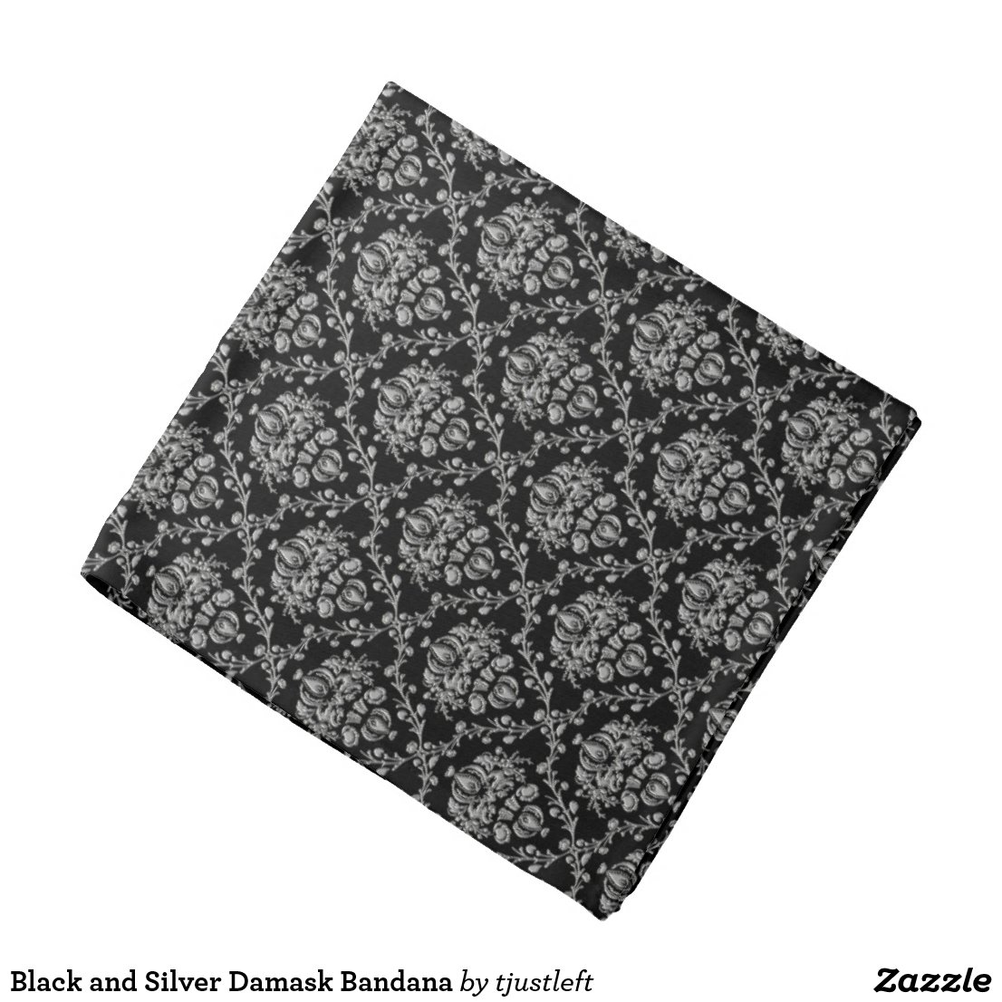 Black and Silver Damask Bandana
