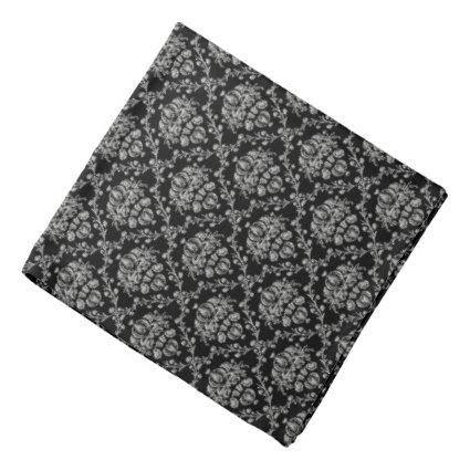 Black and Silver Damask Bandana