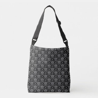 Black and Silver Damask Crossbody Bag
