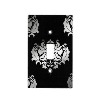 Black And Silver Damask Light Switch Cover