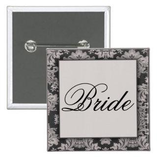 Black and silver damask pattern pin
