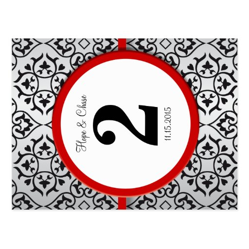 Black and Silver Damask Red Trim Table Number Postcard