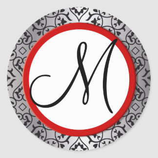 Black and Silver Damask Red Trim Wedding Seal Classic Round Sticker