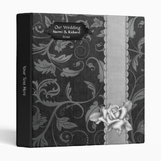 Black and Silver Damask Wedding - Customize Binders