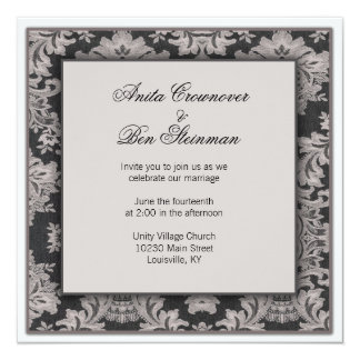 Black and silver damask Wedding Floral Invitation