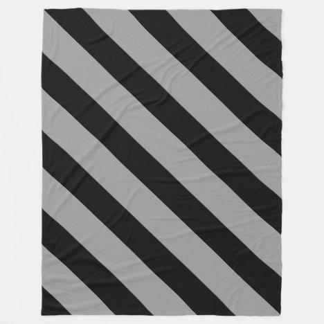 Black and Silver Diagonally-Striped Fleece Blanket