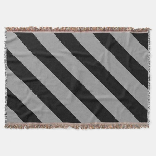 Black and Silver Diagonally-Striped Throw Blanket
