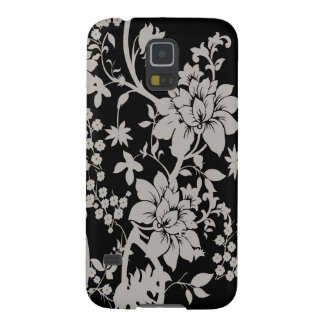 Black and silver dust floral pattern galaxy s5 case