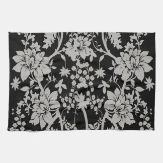 Black and silver dust floral pattern hand towel