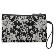 Black and silver dust floral pattern suede wristlet