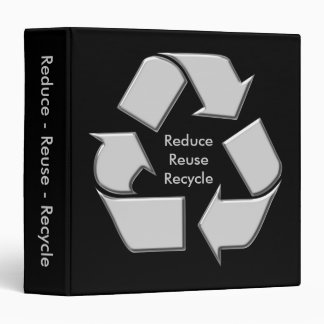 Black and Silver Earthday Recycle Notebook Binder