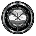 Black and Silver Elegant 10th Wedding Anniversary Large Clock