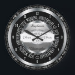 "Black and Silver Elegant 10th Wedding Anniversary Large Clock<br><div class=""desc"">A lifetime of commitment deserves the quality of a custom gift.  Let the all important couple know how much they inspire you with our original black and silver tone tenth anniversary design. Personalize with names as well as wedding date and anniversary date.  Original design created by Holiday Hearts Designs.</div>"