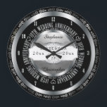 """Black and Silver Elegant 10th Wedding Anniversary Large Clock<br><div class=""""desc"""">A lifetime of commitment deserves the quality of a custom gift.  Let the all important couple know how much they inspire you with our original black and silver tone tenth anniversary design. Personalize with names as well as wedding date and anniversary date.  Original design created by Holiday Hearts Designs.</div>"""