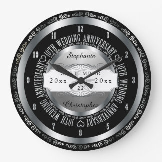 Black and Silver Elegant 10th Wedding Anniversary Large Clock
