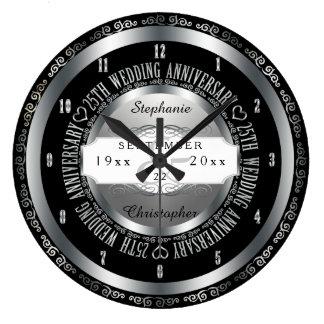 Black and Silver Elegant 25th Wedding Anniversary Large Clock
