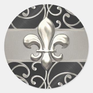 Black and Silver Filigree Swirls Fleur de Lis Classic Round Sticker