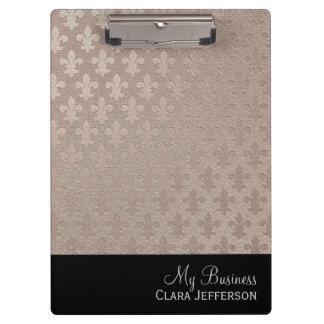 Black and silver fleur de lis metallic pattern clipboards