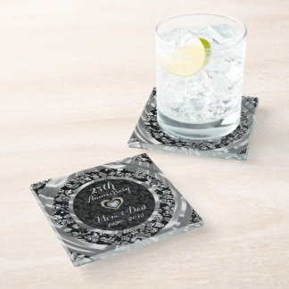 Black And Silver Floral Damask. 25th Anniversary Glass Coaster