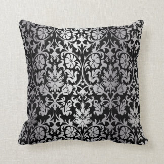Black and Silver Floral Damask Throw Pillow