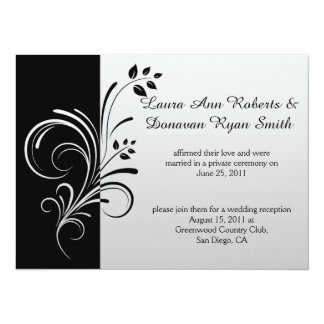 Black and Silver Floral Swirls Post Wedding Card