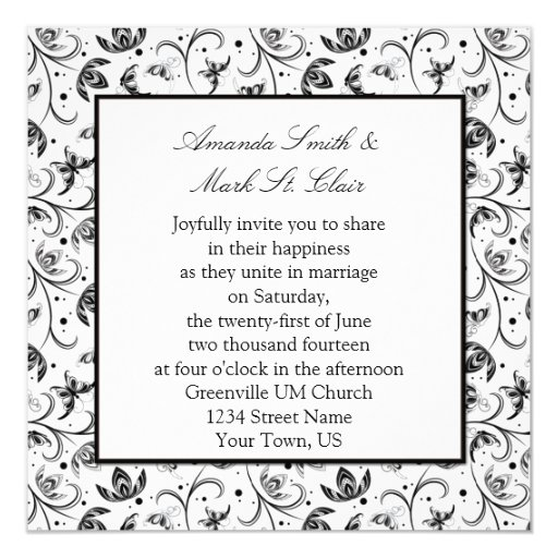Black and Silver Floral Wedding Invitation