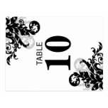 Black and Silver Flourish Table Number Card Postcards