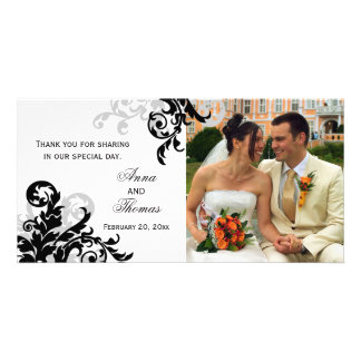 Black and Silver Flourish Wedding Thank You Photo Card