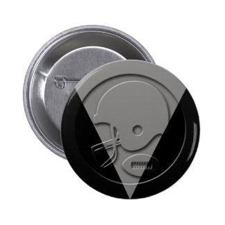 Black and Silver Football Helmet and Ball Pinback Button