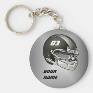 Black and Silver Football Helmet Basic Round Button Keychain