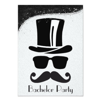 """Black and Silver Gay Bachelor Party Invitation 5"""" X 7"""" Invitation Card"""