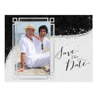 Black and Silver Gay Photo Save the Date Postcard