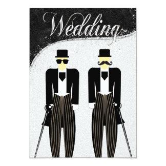 Black and Silver Gay Wedding Invitation