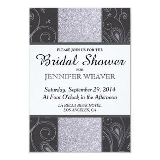 Black and Silver Glitter and Swirls Design Card