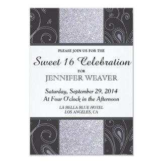 """Black and Silver Glitter and Swirls Design 3.5"""" X 5"""" Invitation Card"""