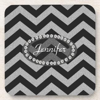 Black and Silver Glitter Chevron Pattern Beverage Coaster