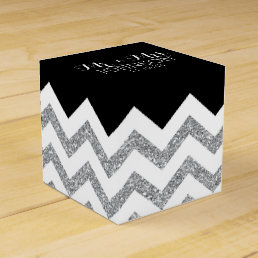 Black and Silver Glitter chevrons Wedding Mr & Mrs Favor Box