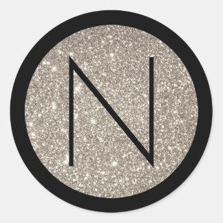 Black and Silver Glitter Monogram Classic Round Sticker